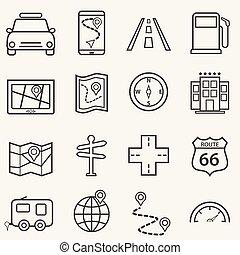 旅行, アイコン, 旅行, 線, ナビゲーション, 道