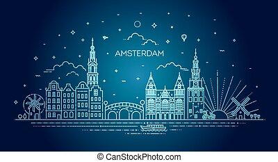旅行, アイコン, 歴史的, アムステルダム, 線, 建物, ランドマーク, 薄くなりなさい