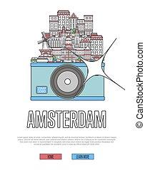 旅行, アムステルダム, ポスター, ∥で∥, カメラ