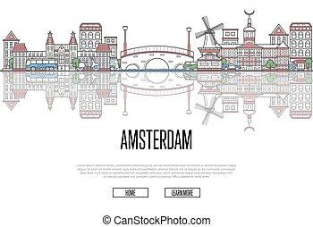 旅行, アムステルダム, ポスター, 中に, 線である, スタイル