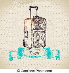 旅行, イラスト, 背景, suitcase., 型, 手, 引かれる
