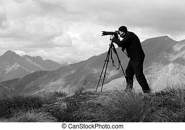 旅行, カメラマン, 位置