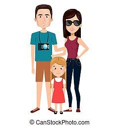 旅行, カメラ, 漫画, 家族