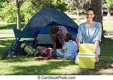 旅行, キャンプ, 家族, 幸せ