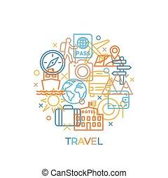旅行, サイン, 線である, 概念, スタイル, 最新流行である, アイコン