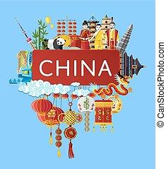旅行, シンボル, 有名, 陶磁器, アジア人, 旗