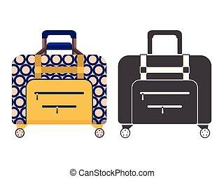 旅行, スーツケース, アイコン