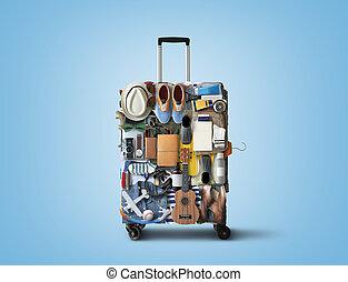 旅行, スーツケース, 衣類, consisting, 項目, 休暇