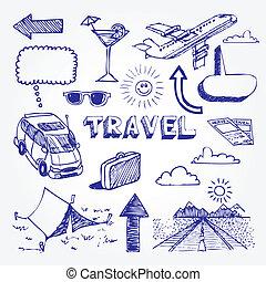 旅行, セット, アイコン
