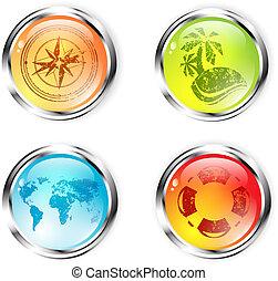 旅行, セット, ボタン