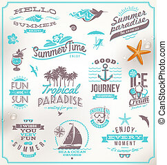 旅行, セット, 休暇, 紋章