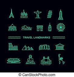 旅行, セット, 線, アイコン, ランドマーク