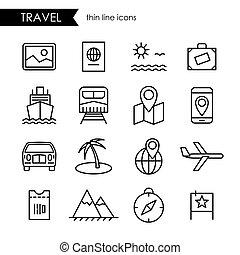 旅行, セット, 線, アイコン, 薄くなりなさい
