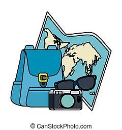 旅行, セット, 観光事業, アイコン
