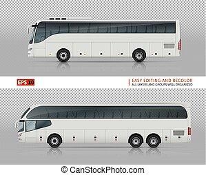 旅行, ベクトル, イラスト, バス