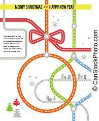 旅行, ベクトル, -, クリスマス, 背景