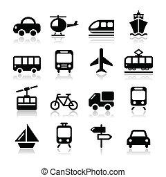 旅行, ベクトル, セット, 輸送, アイコン