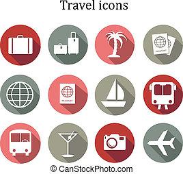 旅行, ベクトル, セット, icons.