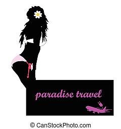 旅行, ベクトル, 女の子, 飛行機, パラダイス
