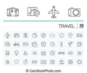 旅行, ベクトル, 観光事業, アイコン
