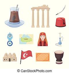 旅行, ベクトル, design., 漫画, セット, 国, トルコ, 魅力, 株, 網, コレクション, シンボル, ...