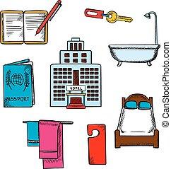 旅行, ホテル, サービス, オブジェクト