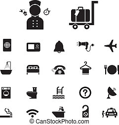 旅行, ホテル, セット, アイコン
