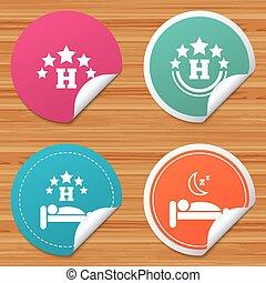 旅行, ホテル, 残り, 5, icons., 星, place.
