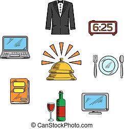 旅行, ホテル, 贅沢, サービス, アイコン