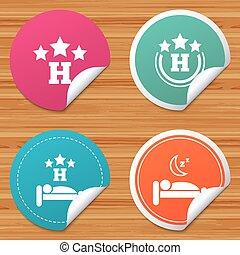 旅行, ホテル, 3, icons., 残り, 星, place.