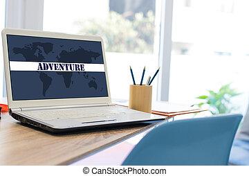 旅行, ラップトップ, デスクトップ, 代理店, ウェブサイト