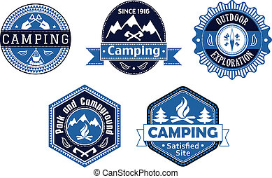 旅行, ラベル, デザイン, 紋章, キャンプ
