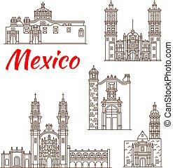旅行, ランドマーク, の, メキシコ人, 建築, アイコン