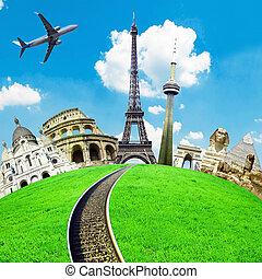 旅行, 世界, 概念的な イメージ