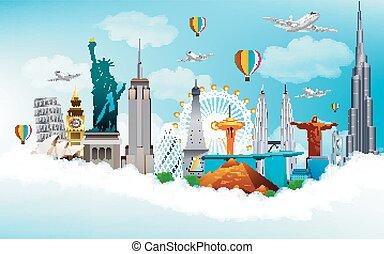 旅行, 世界, 紀念碑, 概念