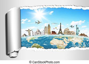 旅行, 世界, 記念碑, 概念