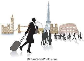 旅行, 中に, ヨーロッパ