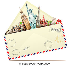旅行, 中に, ∥, 封筒
