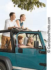 旅行, 中に, cabriolet, 自動車