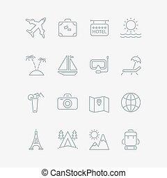 旅行, 休暇, コレクション, アイコン