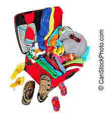 旅行, 休暇, スーツケース, パックされた, 家族, 赤