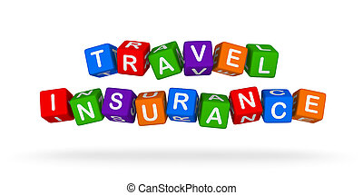 旅行 保険, カラフルである, 印。, 多色刷り, おもちゃ, blocks.
