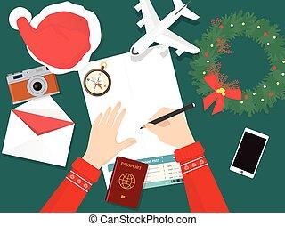 旅行, 假期, 準備, 聖誕節