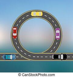 旅行, 向前, the, 海岸, 所作, 汽車。, 摘要, 高速公路, the, 路, 在, a, 風景。, 運輸, 插圖