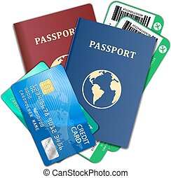 旅行 和 旅遊業, concept., 空氣, 票, 護照, 信用卡