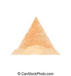 旅行, 図画, エジプト人, 砂漠, ピラミッド