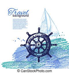 旅行, 型, バックグラウンド。, 海, 海事, design., 手, 引かれる, スケッチ, そして, 水彩画,...