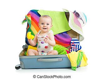 旅行, 女の子, もの, モデル, スーツケース, 赤ん坊, 休暇