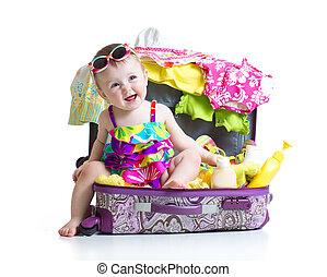 旅行, 女の子, 子供, もの, モデル, スーツケース, 休暇