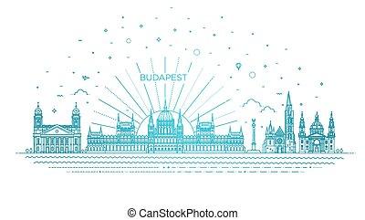 旅行, 建物, ハンガリー人, アイコン, 歴史的, 線, ランドマーク, 薄くなりなさい
